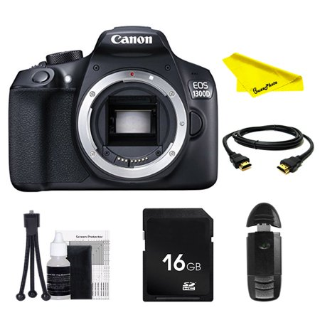 Canon EOS Rebel 1300D DSLR Camera (Body Only) with SD Card + Buzz-Photo Beginners