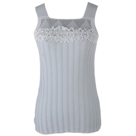 S/M Fit Grey Front Lace Channelled Body Contour Sleeveless Top