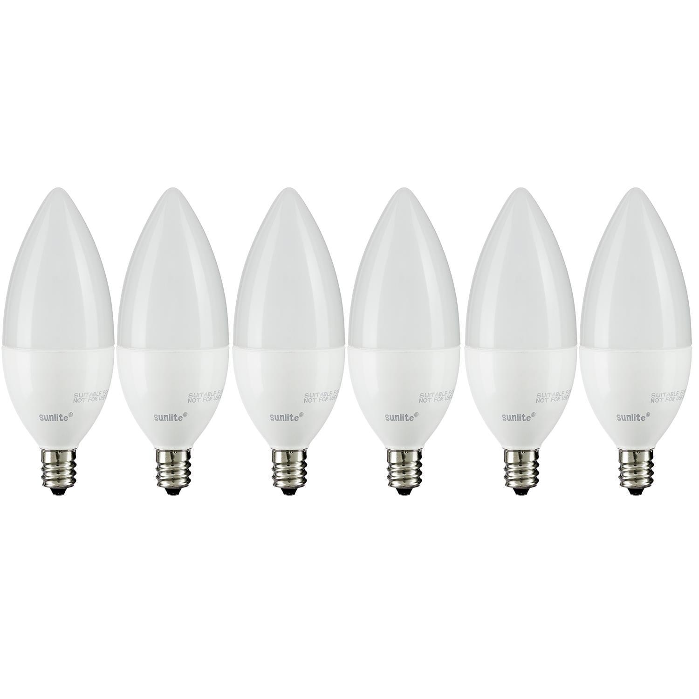 E12 Led Walmart: Pack Of 6 Sunlite CTF/LED/7W/E12/FR/D/ES/27K LED Torpedo