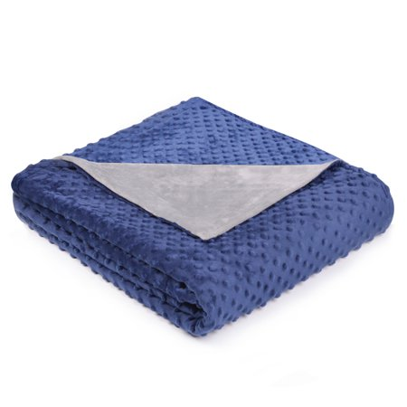 """Comforday Removable Weighted Blanket Cover 48"""" x 72"""", Super Soft Minky Dot Duvet Cover, JUST Cover, Navy"""