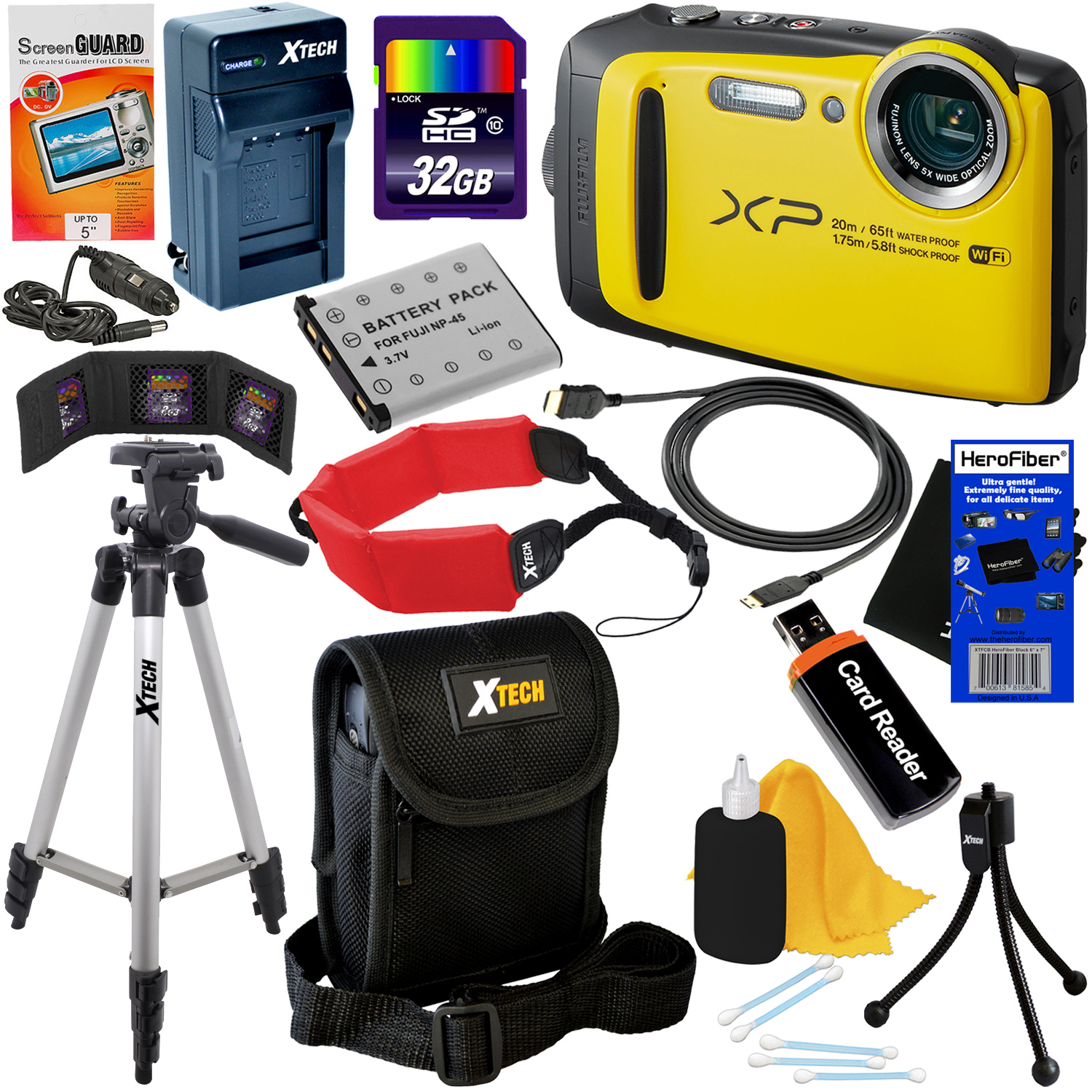 Fujifilm FinePix XP120 16.4 MP Waterproof & Shockproof Digital Camera with built-in Wi-Fi & 5x Optical Zoom (Yellow) + NP-45 Battery & AC/DC Charger + 11pc 32GB Deluxe Accessory Kit w/ HeroFiber Cloth