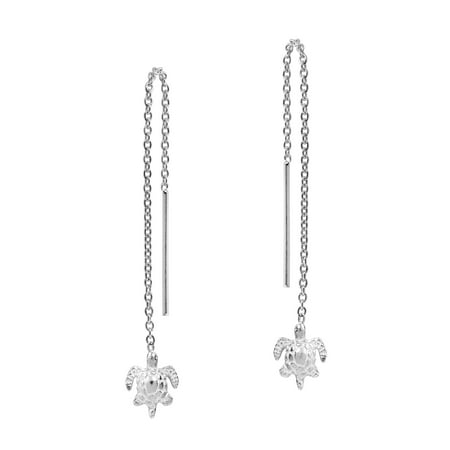 Sterling Silver Adorable Baby Sea Turtle Thread Slide Earrings