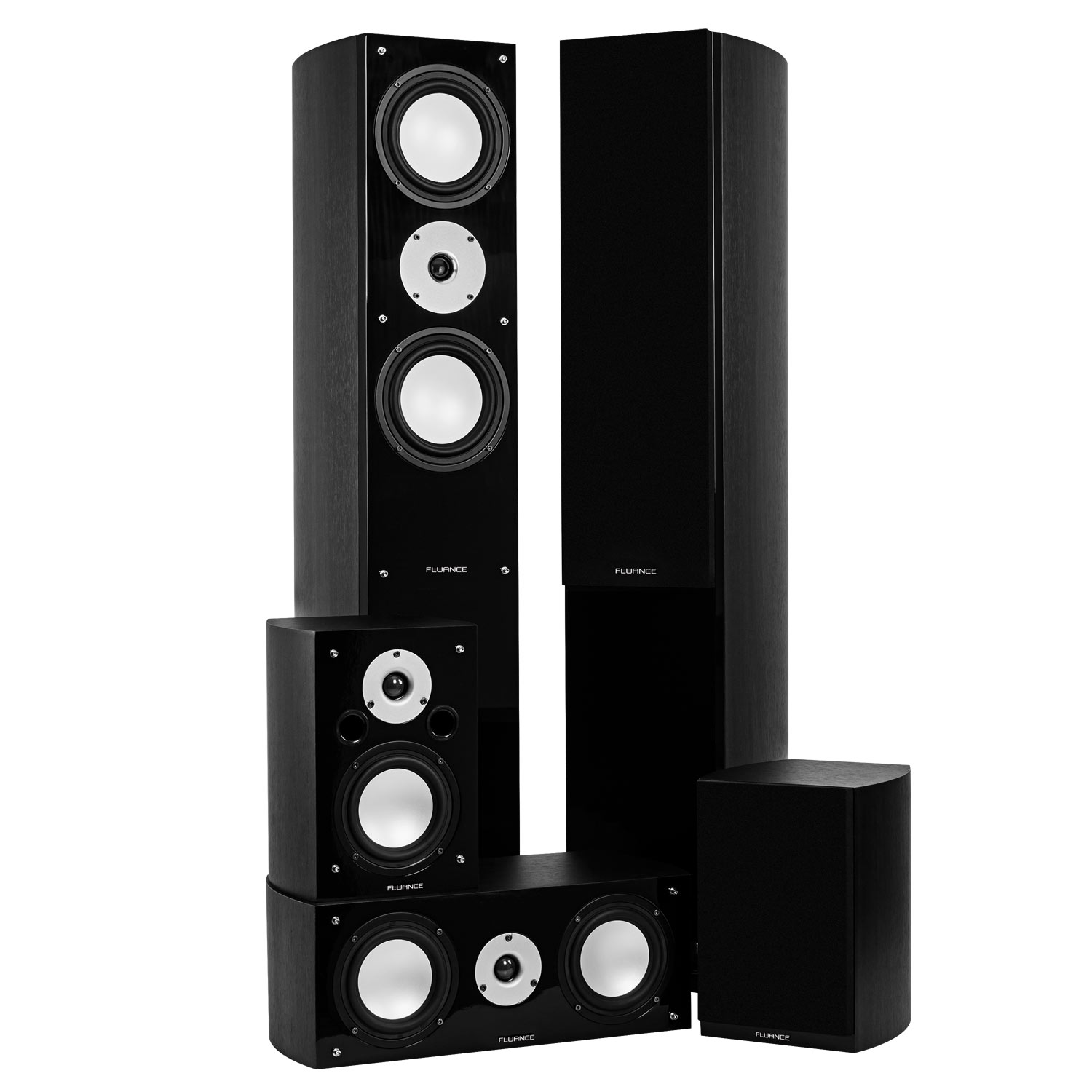 Fluance XLHTBBK High Performance 5 Speaker Surround Sound Home Theater Speaker System (Black Ash) by Fluance