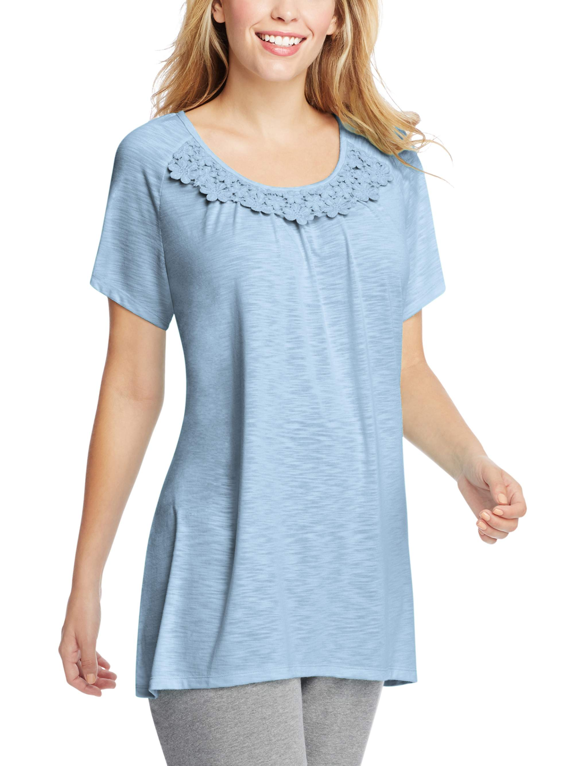 Women's Plus-Size Slub Crochet Trim Tunic