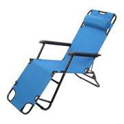 Ktaxon Outdoor Folding Lounge Chaise Portable Beach Recliner Patio Chair, Garden Camping Pool Yard Lawn Recliner Portable Beach Pool Chair with Adjustable Pillow
