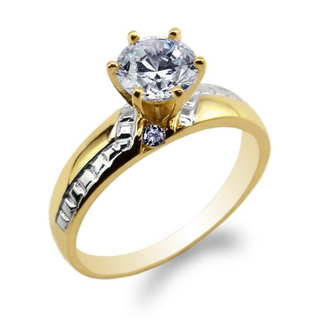 JamesJenny Womens 10K Yellow Gold Two Tone Round CZ Stylish Engagement Ring Size (Stylish Cubic Zirconia Ring)