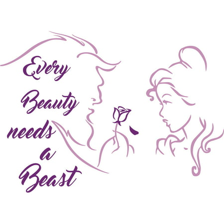 Every Beauty Needs a Beast Quotes Customized Wall Decal - Custom Vinyl Wall Art - Personalized Name - Baby Girls Boys Kids Bedroom Wall Decal Room Decor Wall Stickers Decoration Size (20x20 (List Of Beauty Products Every Girl Needs)