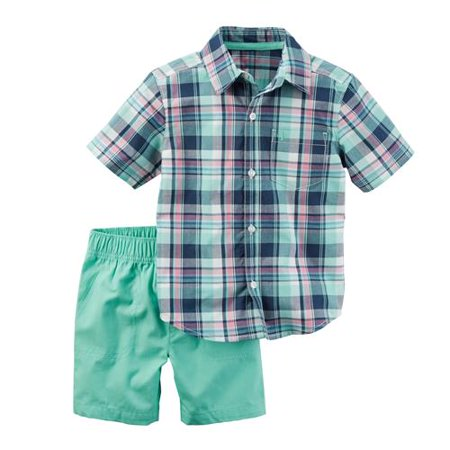 Carters Boys 12-24 Months Plaid Button-Up and Short Set(Turquoise 12 Months)