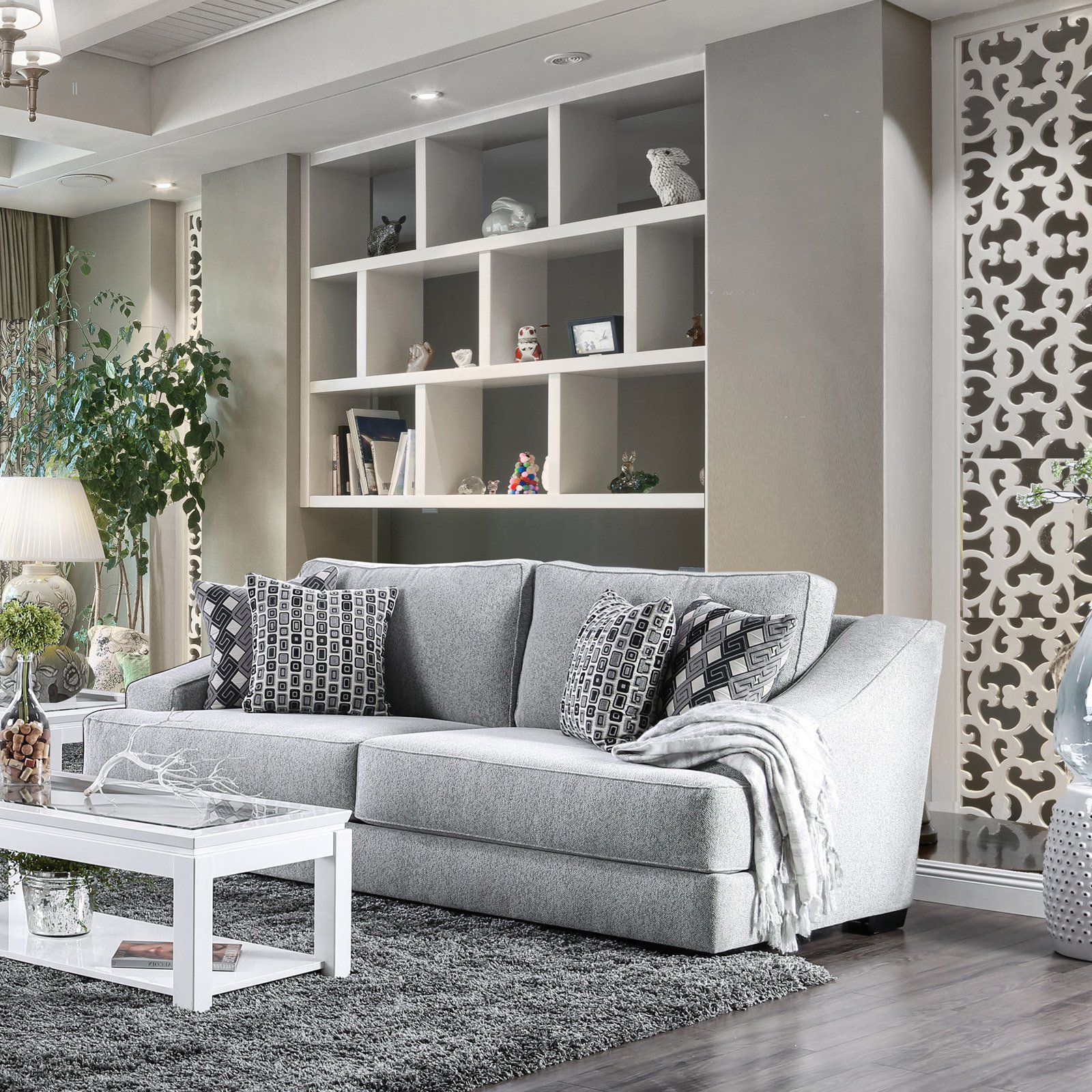 Delicieux Furniture Of America Ariadynne Contemporary Style Chenille Fabric Sofa