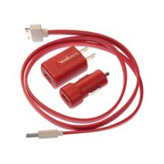 Ecko EKU-PK1-RD Wall & Car USB Charging Kit with Apple Cable (Red) - NEW