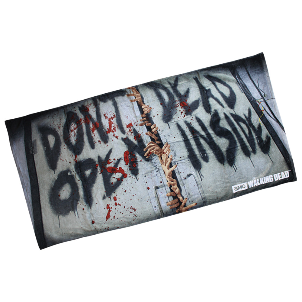 "The Walking Dead ""Dead Inside, Do Not Open"" Beach Towel 59"" X 29 1/2"""