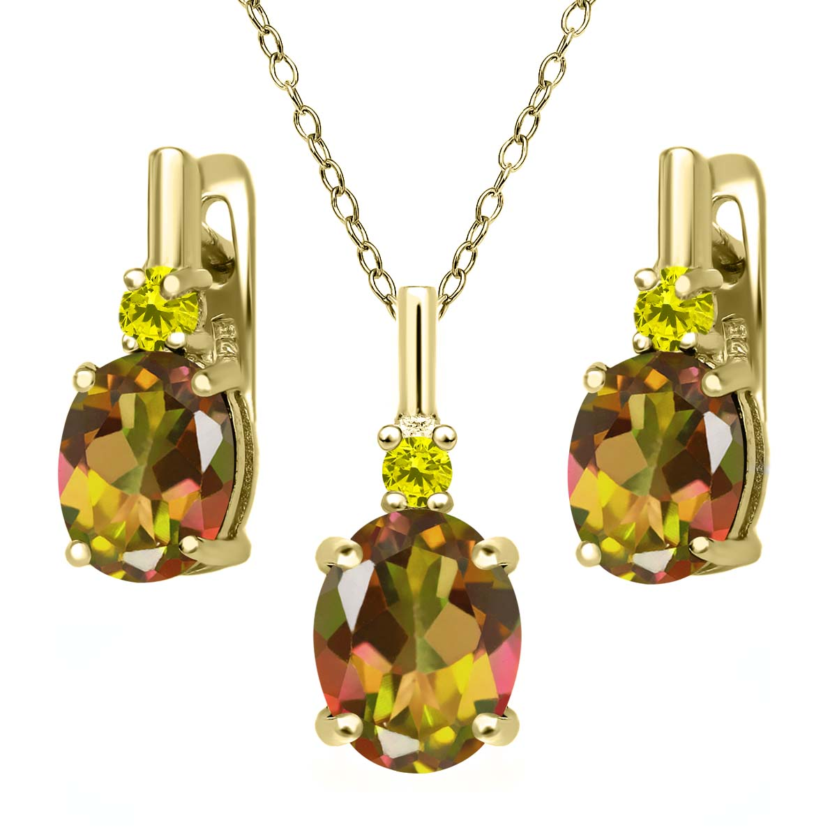 6.97 Ct Mango Mystic Topaz Canary Diamond 18K Yellow Gold Plated Silver Pendant Earrings Set by