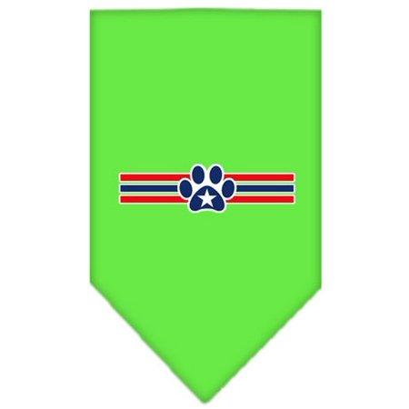 Patriotic Star Paw Screen Print Bandana Lime Green Large