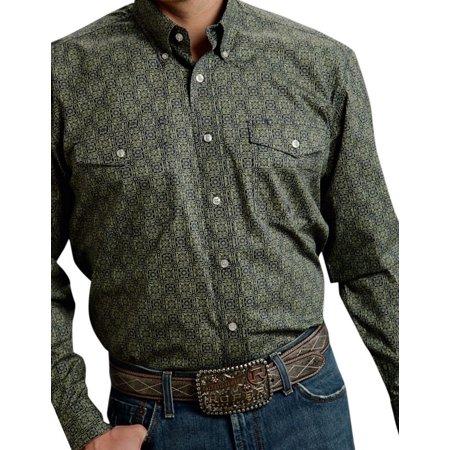- Roper Western Shirt Mens L/S Bottom Down Green 03-001-0325-0690 GR