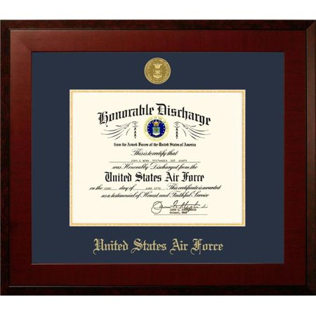 Campus Images AFDHO001 8.5 x 11 in. Patriot Frames Air Force Discharge Honors Mahogany Frame with Gold Medallion - image 1 de 1