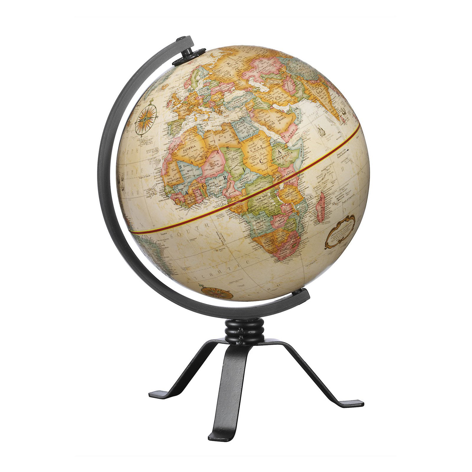 Antique Desktop 6 Spinning Globe for Kids and Geography Lovers Vintage Shading with Plastic Base World Globe
