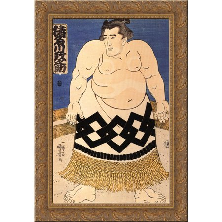 Sumo Wrestler Inflatable (The sumo wrestler 24x18 Gold Ornate Wood Framed Canvas Art by Utagawa)