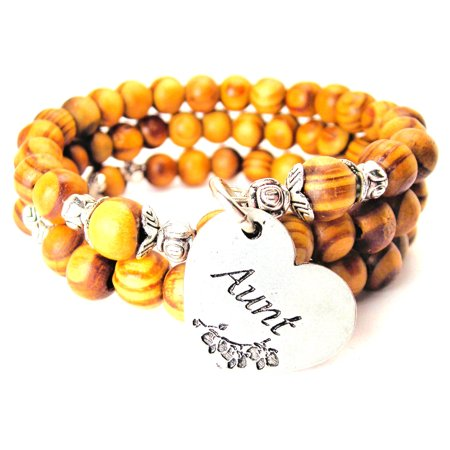 Wood Wrap Bracelet - Aunt Heart Natural Wood Wrap Bracelet, One Size Fits All, Chubby Chico Charms Exclusive