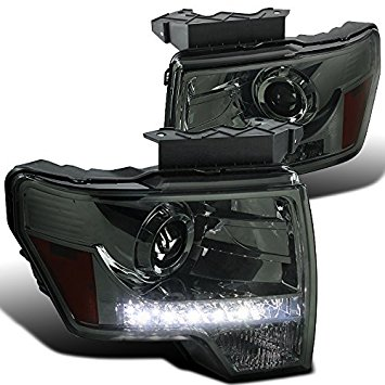 Spec-D Tuning 2LHP-F15009G-8-RS Ford F150 Pickup Cab Smoke Lens LED DRL Strip Projector Headlights Pair