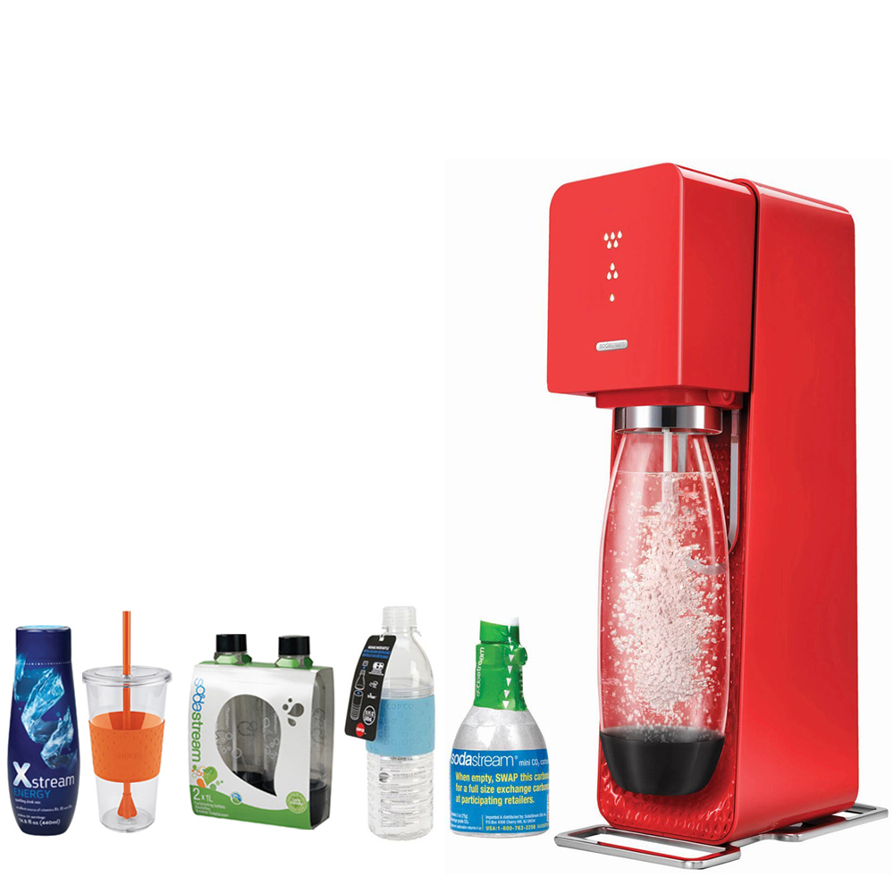 SodaStream Source Home Soda Maker Starter Kit, Red Includes, 1L Carbonating Bottles Blk, Xstream Energy Drink, Hydra Bottle Blue, & Togo Cup Mug Orange
