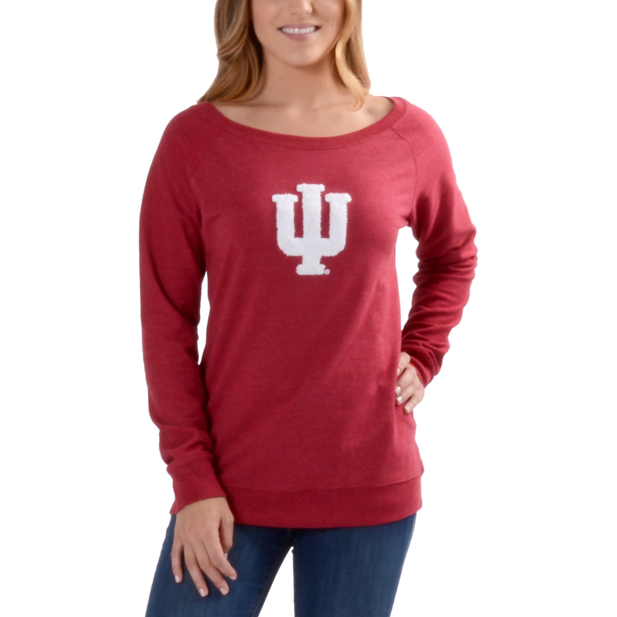 Women's Crimson Indiana Hoosiers Chenille Letters Pullover Sweatshirt