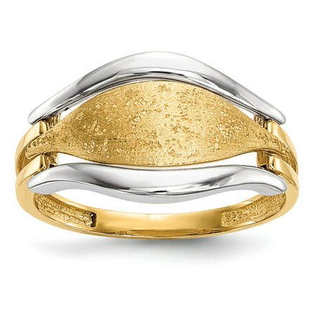 Solid 14k Gold Two-tone Polished & Textured Ring (2mm) - Size -