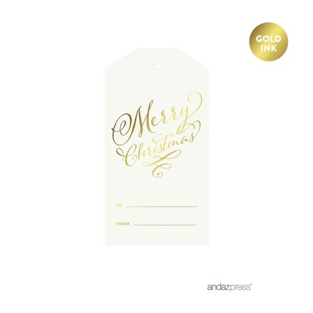 Metallic Tags - Gold Metallic Gold Merry Christmas To/From Classic Gift Tags, 12-Pack