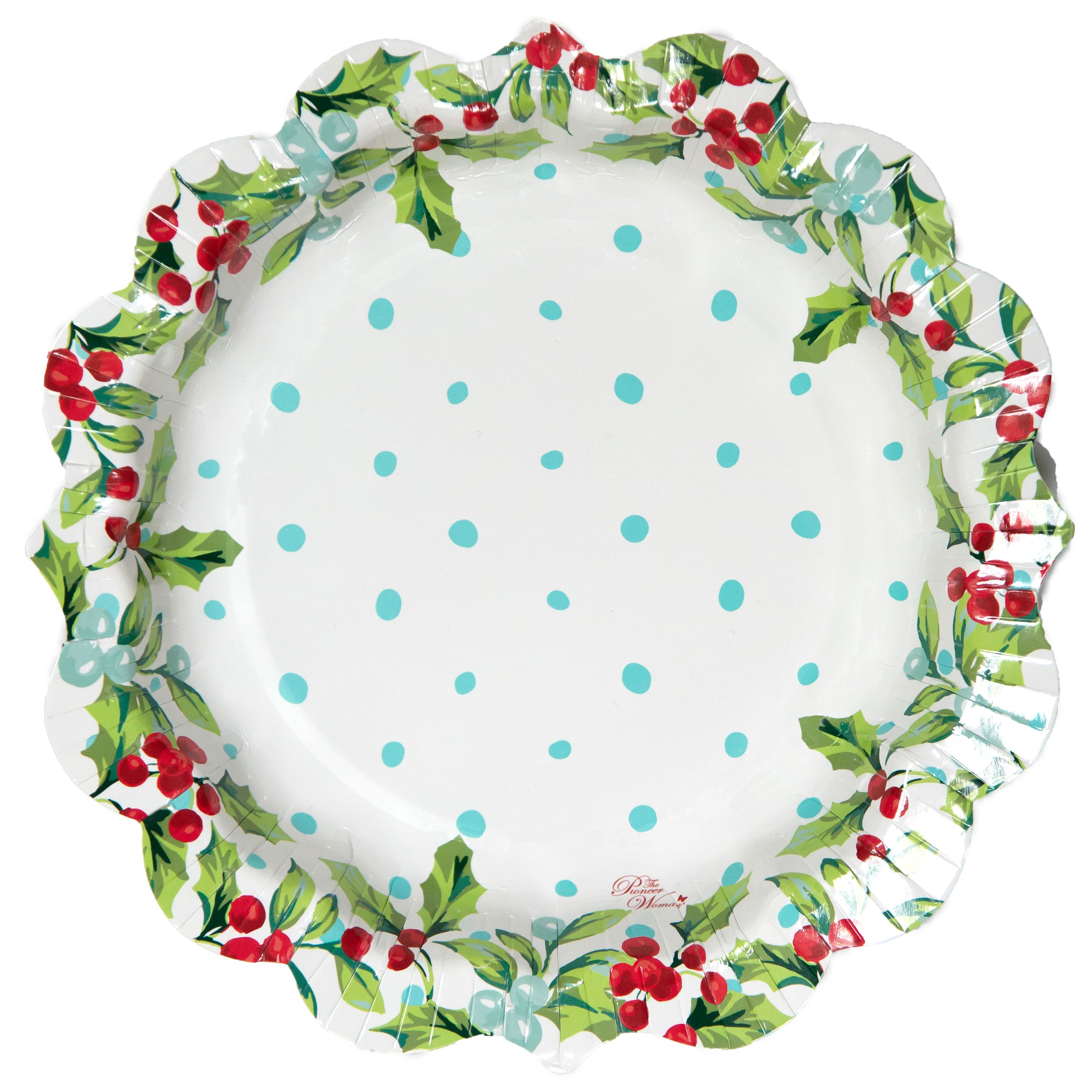 Christmas Paper Plates.Pioneer Woman Mistletoe Christmas Paper Plates 8 In 12ct