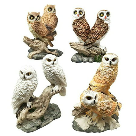 - Colorful Owl Species Barn Great Horned Snowy & Screech Owls Perching On Branch Figurine Set Of 4