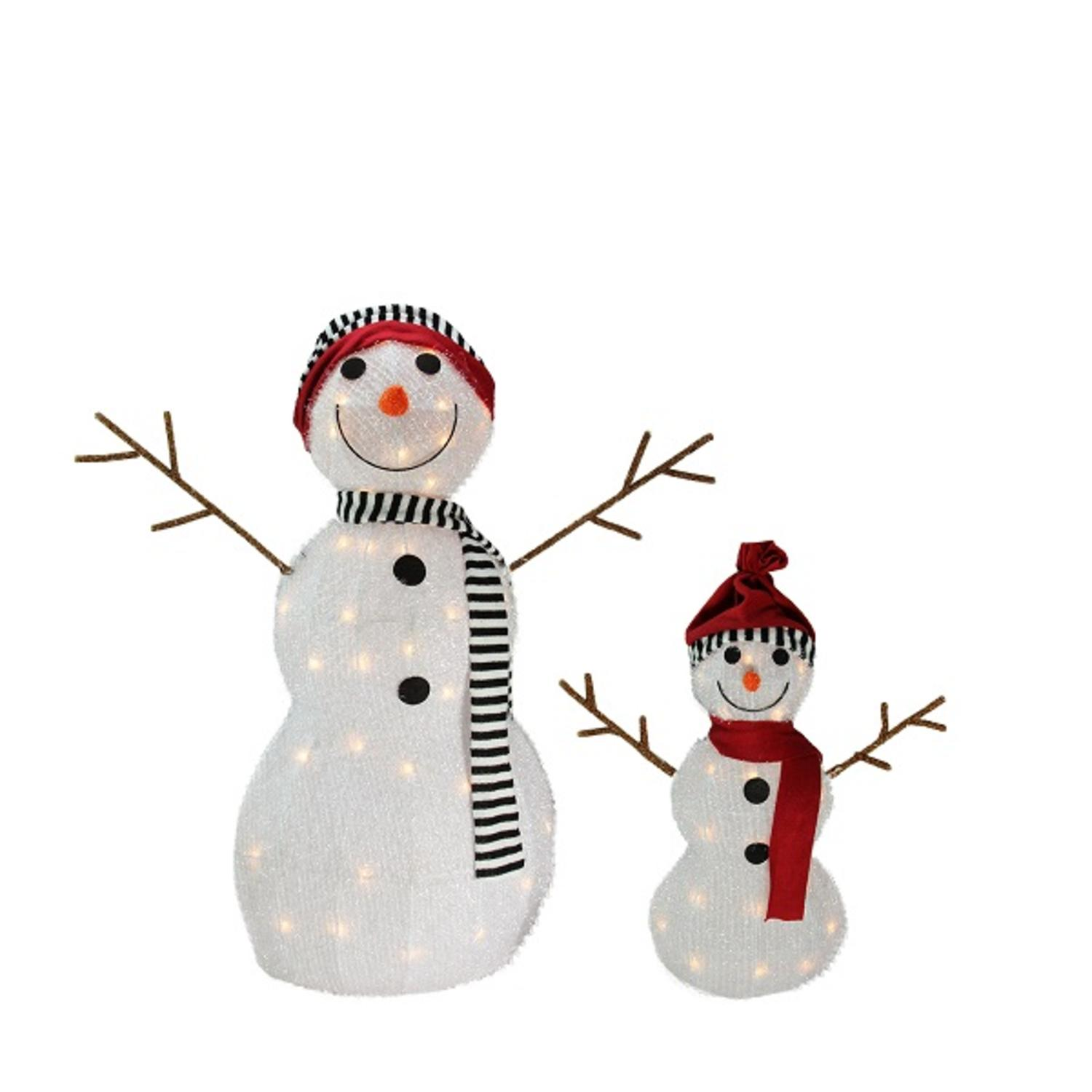 Set of 2 Lighted 3-D Tinsel Snowman Family Christmas Yard Art Decoration 32""