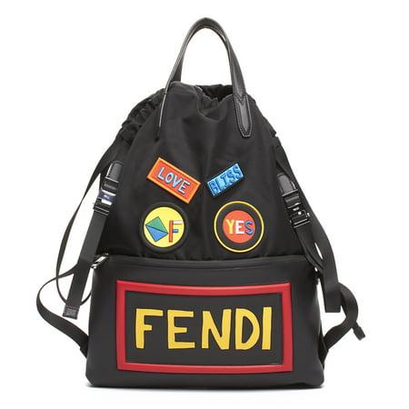 10c2d2958c5a Fendi - Fendi Unisex Leather Nylon Logo Print Drawstring Backpack Black -  Walmart.com