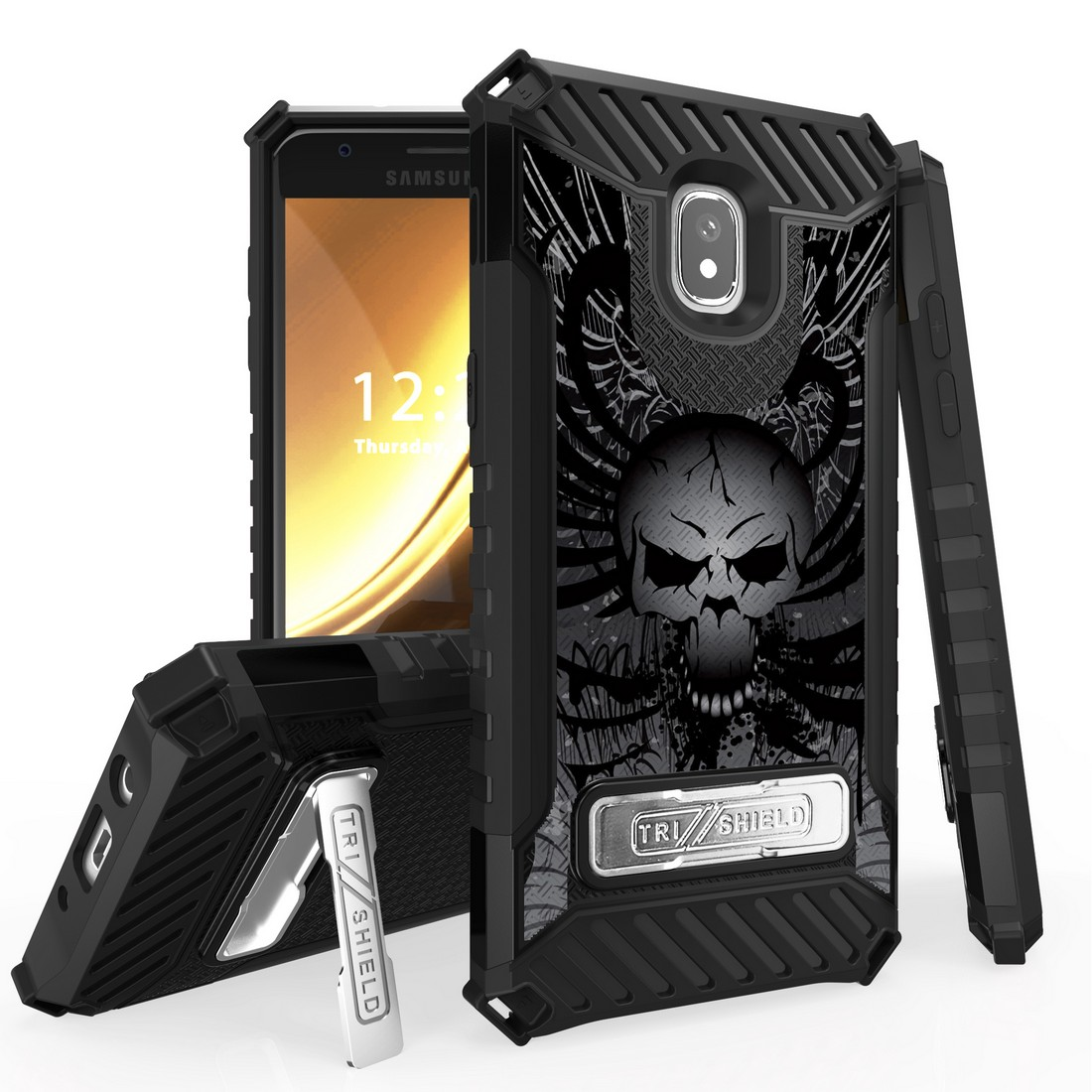 Beyond Cell Case Compatible with Samsung Galaxy J3 Orbit, Military Grade Drop Tested [MIL-STD 810G-516.6] Kickstand Cover Case and Atom Cloth for J3 Orbit - Skull Wings