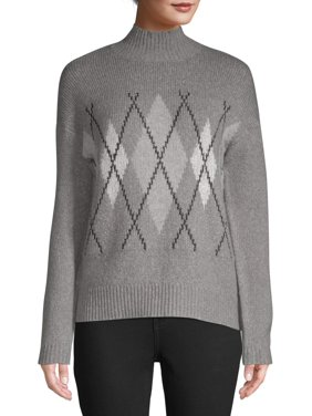 Women's Argyle Mockneck Sweater