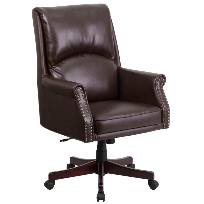 Scranton & Co High Back Leather Swivel Office Chair in Brown
