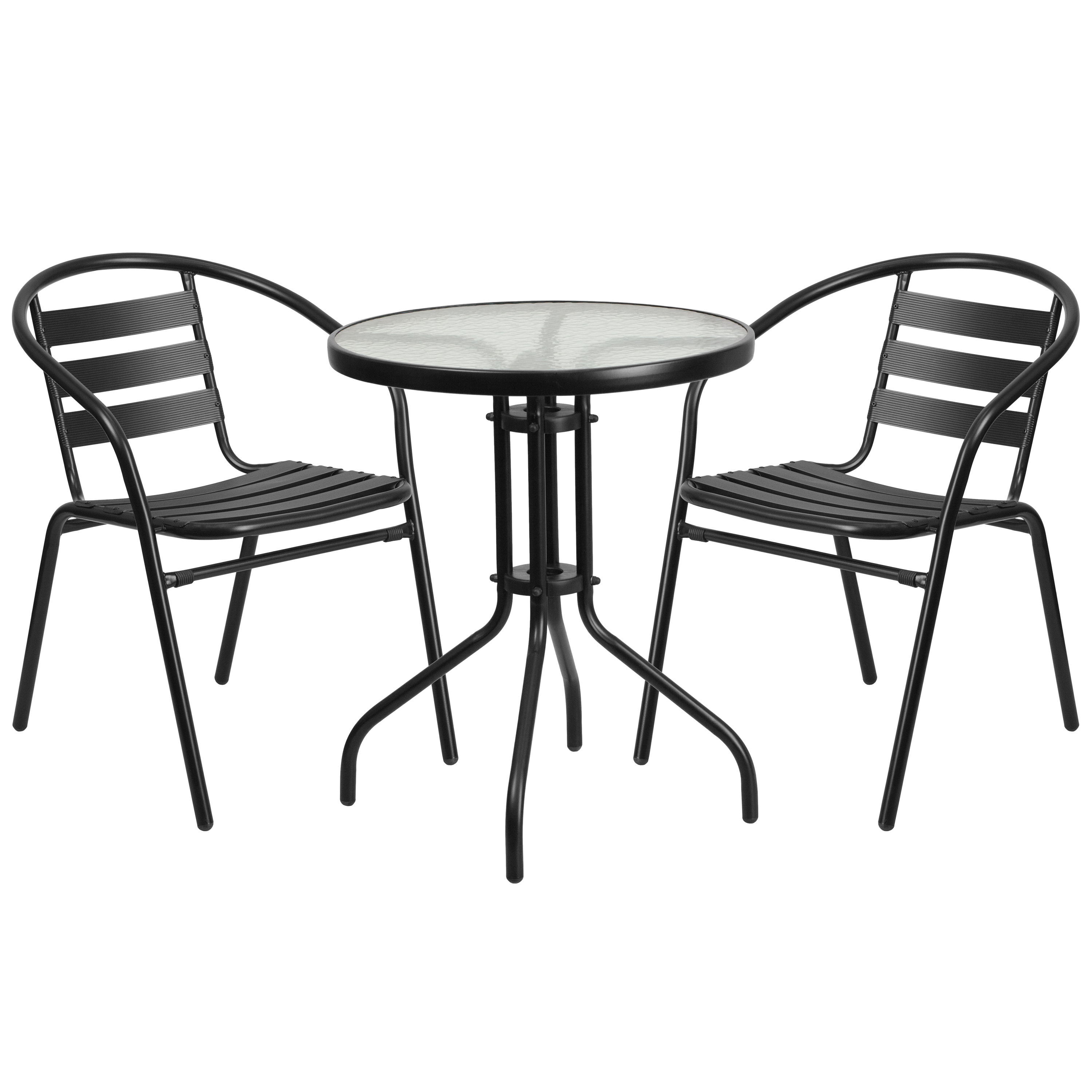 Flash Furniture 23.75'' Round Glass Metal Table with 2 Black Metal Aluminum Slat Stack Chairs