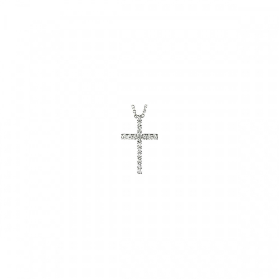 "Platinum 1 3 CTW Petite Diamond Cross 18"""" Necklace R42157d   Platinum   21.50X13.25 Mm   Polished  ... by Midwest Jewellery"