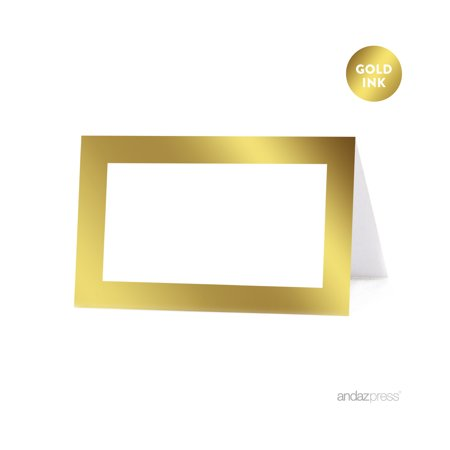 Blank Metallic Gold Table Tent Place Cards, 20-Pack