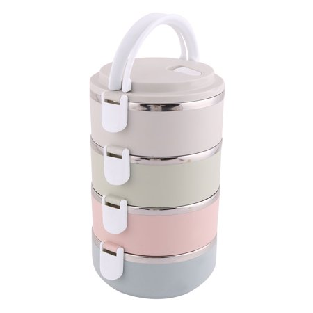 Office Plastic 4 Layers Cylinder Food Rice Soup Storage Holder Lunch Box - image 1 of 5