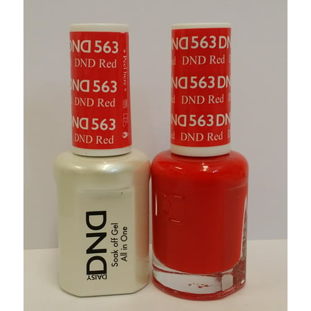 DND Nail Polish Gel & Matching Lacquer Set (563 - DND Red)