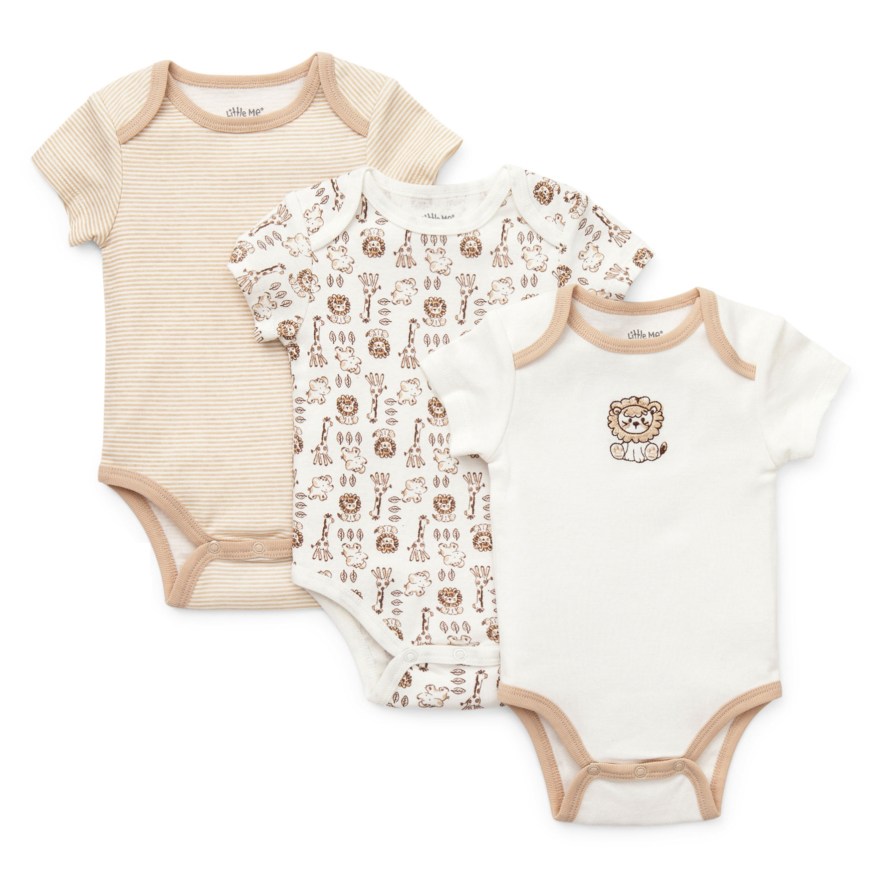 Little Me Baby Lion Safari Animal Print and Solid 3 Pack of Short Sleeve Baby Bodysuit Creepers For Boys - Beige and Off-White- 3 Months