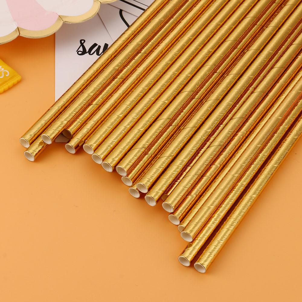 Mosunx 25PCS Gold Drink Paper Straws Birthday Party Supplies Theme