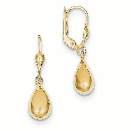 10K Yellow Gold 7 MM Tear Drop Fancy Dangle Lever back Earrings