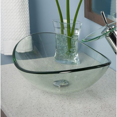 Topia Clear Glass Oval Vessel Bathroom Sink (1h Vessel)