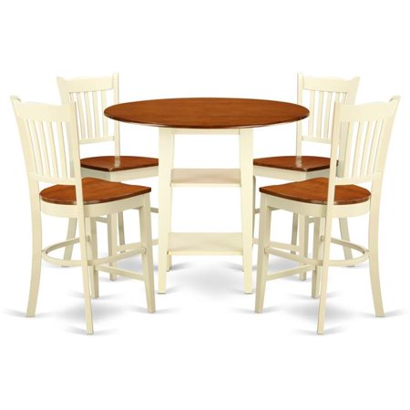 East West Furniture Sudbury 5 Piece Double Drop Leaf Dining Table Set With Slat Back Chairs Ermilk Cherry