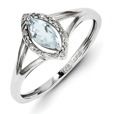 Sterling Silver Rhodium Plated Diamond & Aquamarine Marquise Ring (Rhodium Plated Marquis)