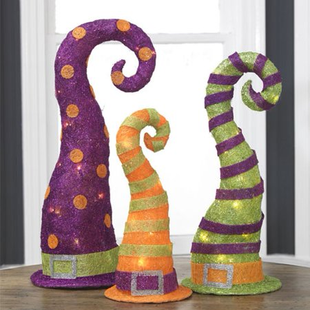 set of 3 lighted sparkling sisal purple orange and green witches hat halloween decorations