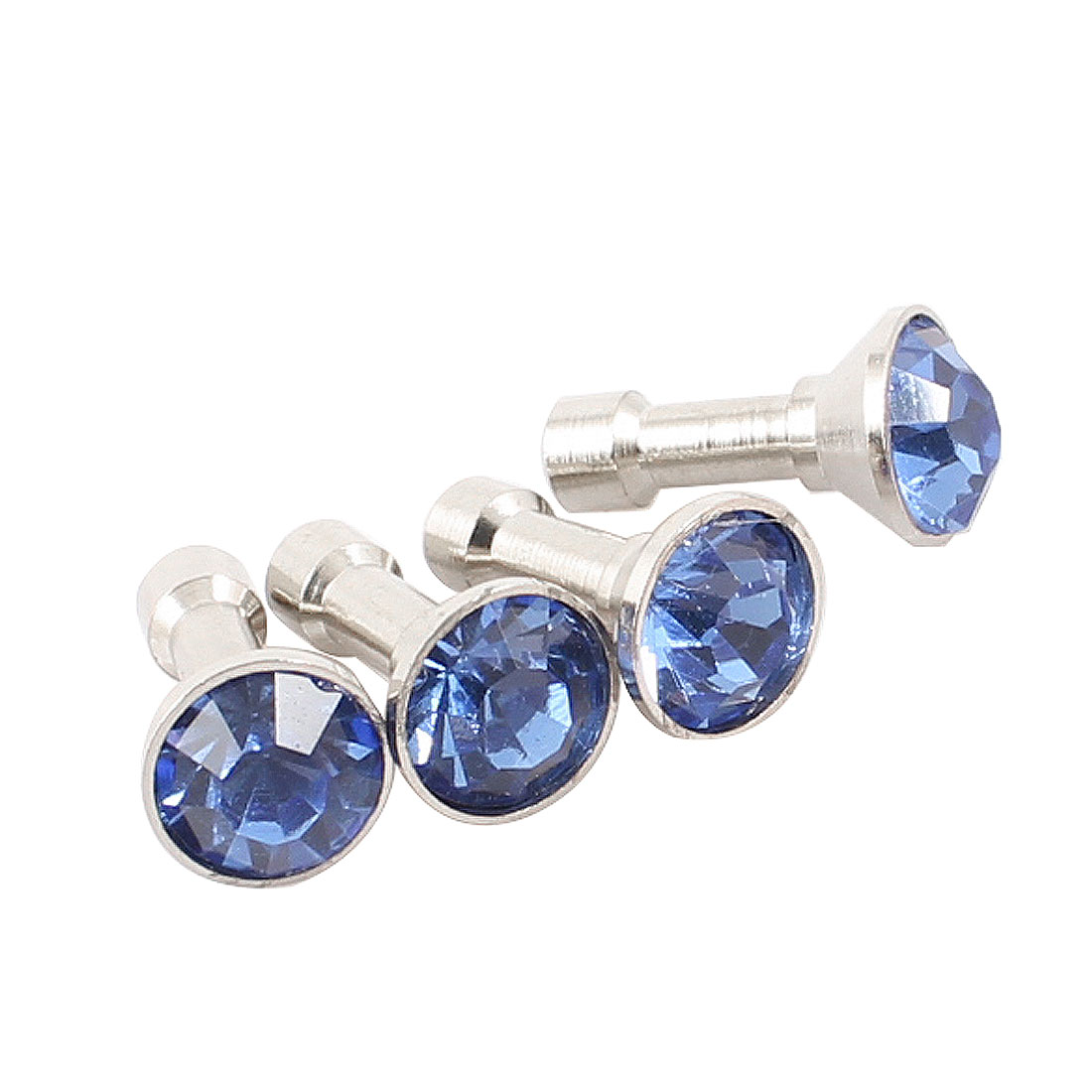 4Pcs Blue Mobile Phone Shiny Rhinestone 3.5mm Anti Dust Earphone Ear Cap Plug