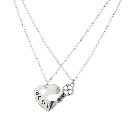 Rhinestone Heart Lock Necklace (Lux Accessories Silvertone Best Friends BFF Heart Lock n Key Charm Necklace 2PC )
