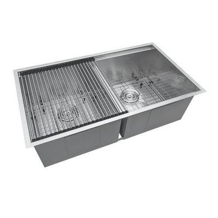 Ruvati Roma Workstation Ledge 33'' L x 19'' W Double Basin Undermount Kitchen Sink Basin Undermount Kitchen Sink