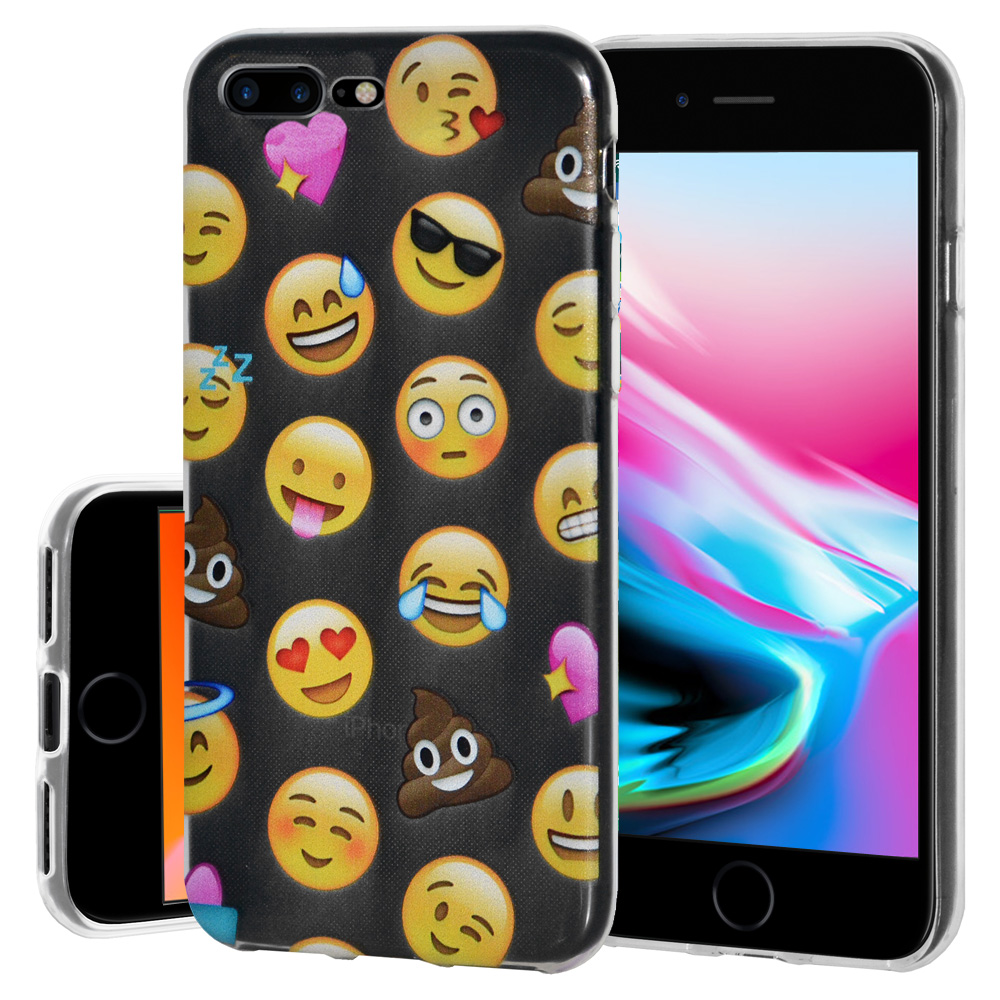 iPhone 8 Plus Case, Soft Gel TPU Case Clear with Mixed Emoji Design Slim Protective Cover (Semi-transparent, Anti Scratch,Flexible) for iPhone 8 Plus